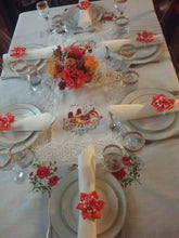 Load image into Gallery viewer, Orange Flower Set of Napkin Rings Handmade Art by Maria Iliescu Cozy Supper Decorating Table Holiday Feast Dinner Decorative Ideas - HANDMADE ART BY MARIA ILIESCU