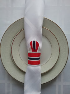 Red Navy Blue White Napkin Rings Set of Six Gorgeous Colour Matching Handmade Art by Maria Iliescu Shine Bright your Living Room Napkin - HANDMADE ART BY MARIA ILIESCU