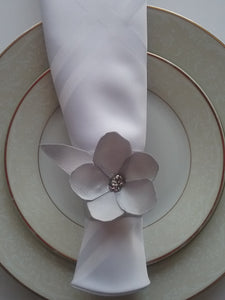 Silvia Napkin Ring Silver Wonderful Satin Double Shiny Handmade Art by Maria Iliescu Fashion Setting Table Catch Eyes - HANDMADE ART BY MARIA ILIESCU