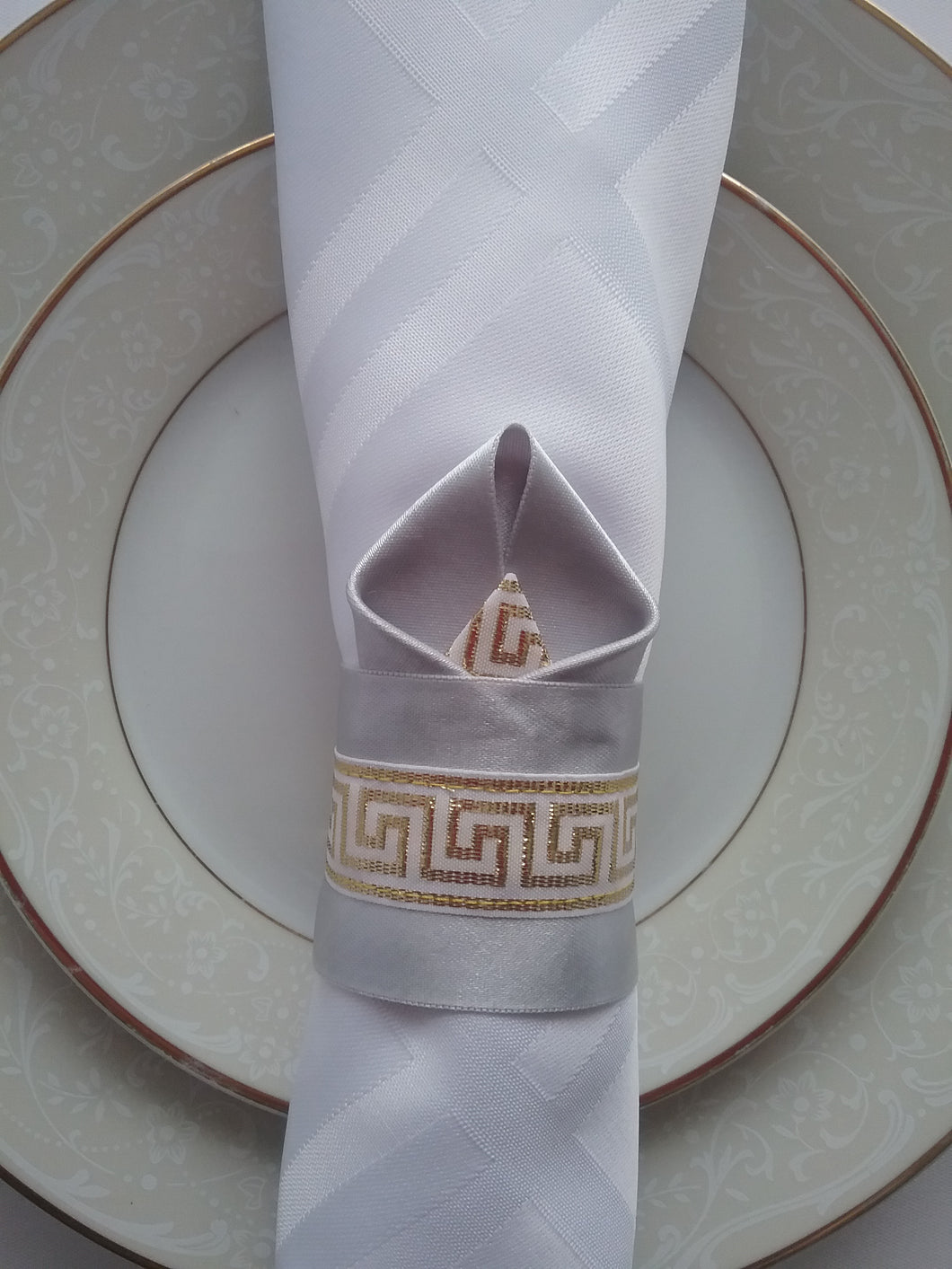 Sophie Napkin Ring Silver Gold Luxe Table Linens Bright Colour and Wonderful Pattern Handmade Art by Maria Iliescu - HANDMADE ART BY MARIA ILIESCU
