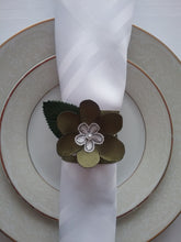 Load image into Gallery viewer, Alma Napkin Ring Green and White My Favorite Table Setting Canadian's Ultimate Style Handmade Art by Maria Iliescu New and Now - HANDMADE ART BY MARIA ILIESCU