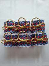 Load image into Gallery viewer, Fariada Napkin Ring Traditional Woven Style Blue Red White Setting Table Style at Home Handmade Art by Maria Iliescu - HANDMADE ART BY MARIA ILIESCU