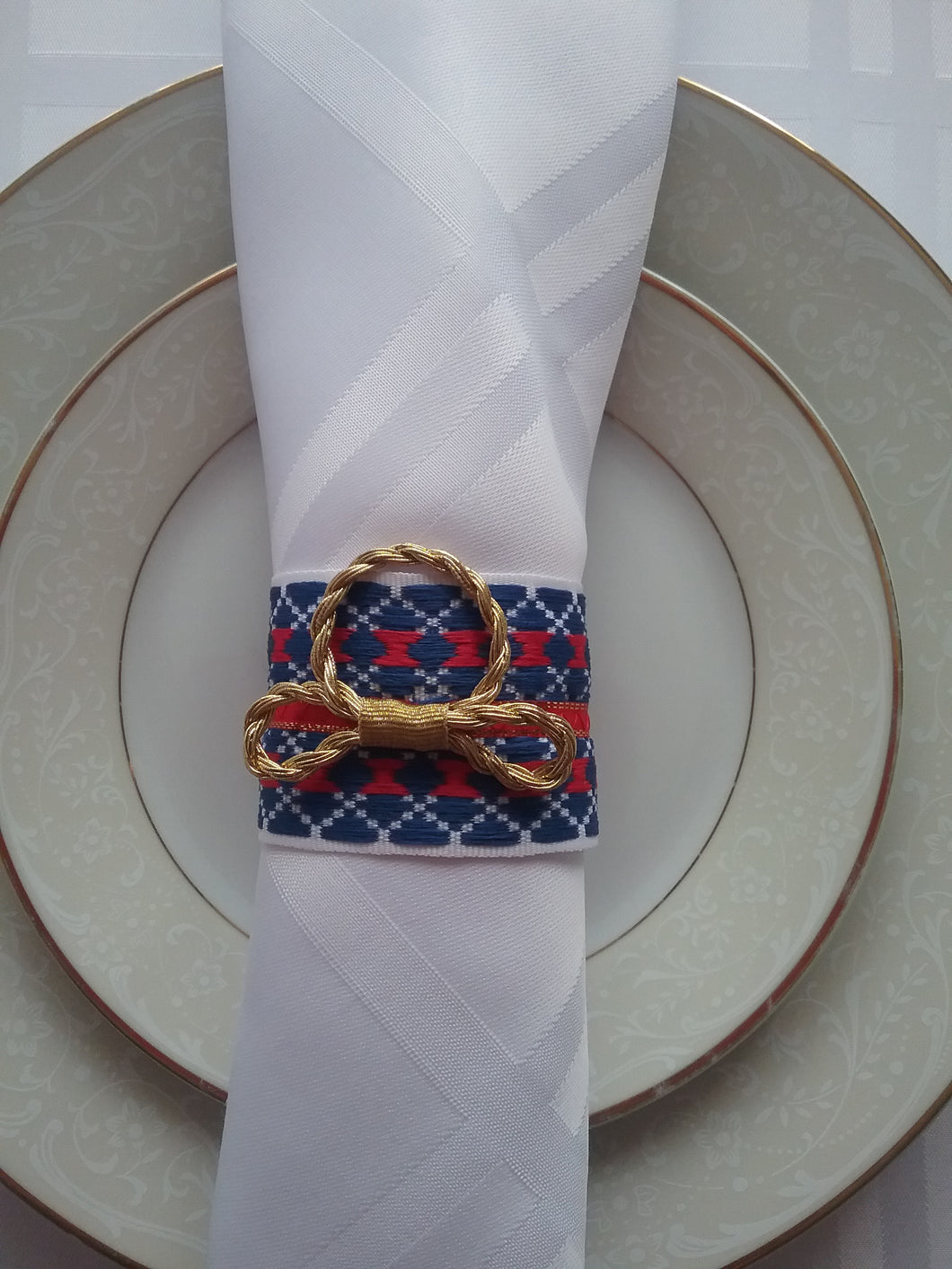 Fariada Napkin Ring Traditional Woven Style Blue Red White Setting Table Style at Home Handmade Art by Maria Iliescu - HANDMADE ART BY MARIA ILIESCU