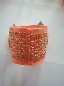 Abba Napkin Ring Orange and Gold  Set of Six Pieces Table Accessories Art and Style at Home Handmade Art by Maria Iliescu - HANDMADE ART BY MARIA ILIESCU