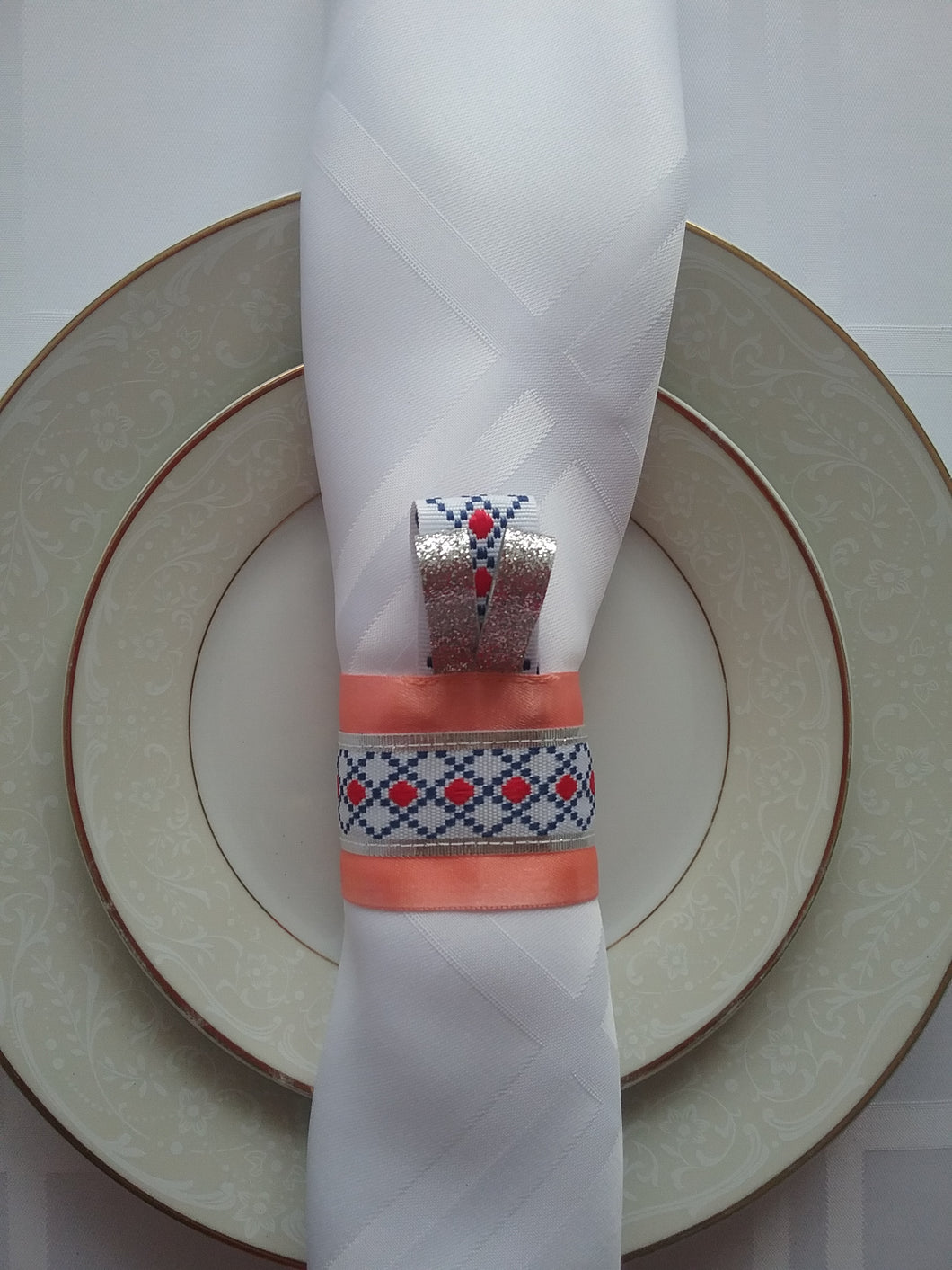 Rebecca Napkin Ring Woven Traditional Style Artwork Forever Dinner Dress Artful Effect for Table Handmade Art by Maria Iliescu - HANDMADE ART BY MARIA ILIESCU