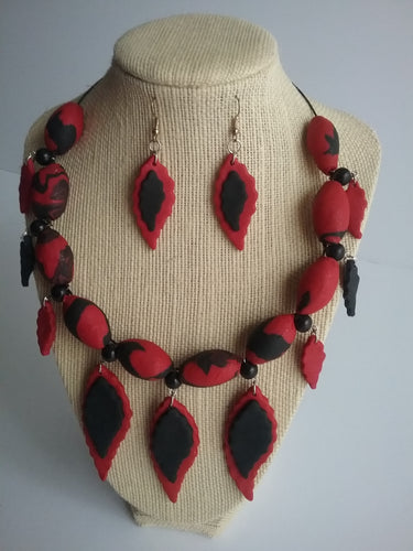 Black and Red Necklace and Earrings Jewelry Art Beads and Leaf Spring Style Leaf Drop Handmade Art by Maria Iliescu - HANDMADE ART BY MARIA ILIESCU