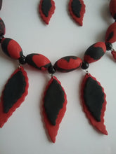 Load image into Gallery viewer, Black and Red Necklace and Earrings Jewelry Art Beads and Leaf Spring Style Leaf Drop Handmade Art by Maria Iliescu - HANDMADE ART BY MARIA ILIESCU