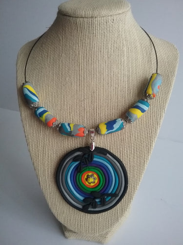 Norma Necklace Polymer Clay Colorful Fashion Style Handmade Art by Maria Iliescu - HANDMADE ART BY MARIA ILIESCU
