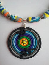 Load image into Gallery viewer, Norma Necklace Polymer Clay Colorful Fashion Style Handmade Art by Maria Iliescu - HANDMADE ART BY MARIA ILIESCU