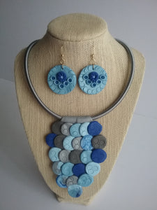 Isabell Necklace and Earrings Jewelry Set Matching Blue Style Gorgeous  Design  Birthday Anniversary Gift  Handmade Art by Maria Iliescu - HANDMADE ART BY MARIA ILIESCU