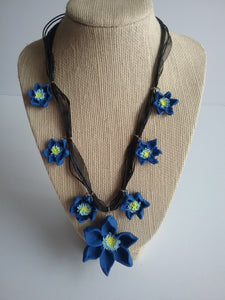 Cornflowers Necklace Adjustable Blue Catch Eyes Adorable Gift for Her Spring Flowers Handmade Art by Maria Iliescu - HANDMADE ART BY MARIA ILIESCU