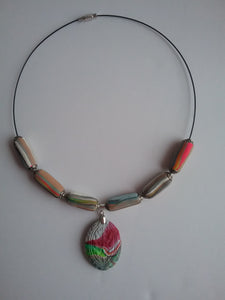 Laura Necklace Gorgeous Jewelry Colorful Casual Polymer Clay Art Handmade Art by Maria Iliescu - HANDMADE ART BY MARIA ILIESCU