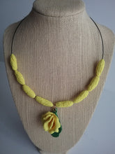 Load image into Gallery viewer, Sweet Pea Necklace and Earrings Set Jewelry Yellow and Brown Field Flower Oval Beads Handmade Art by Maria Iliescu - HANDMADE ART BY MARIA ILIESCU