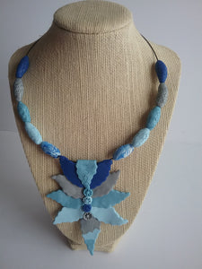 Sorana Necklace Beads and Leaves Style Blue and Grey Charming Jewelry Handmade art by Maria Iliescu - HANDMADE ART BY MARIA ILIESCU