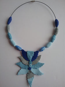 Shorana Necklace Beads and Leaves Style Blue and Grey Charming Jewelry Handmade art by Maria Iliescu - HANDMADE ART BY MARIA ILIESCU