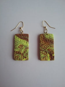 Rita Earrings Yellow Brown Ingenious Style Polymer Clay Handmade Art by Maria Iliescu - HANDMADE ART BY MARIA ILIESCU