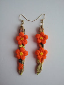 Orange Flowers Earrings Hang Style Catch Eyes Handmade Art by Maria Iliescu - HANDMADE ART BY MARIA ILIESCU