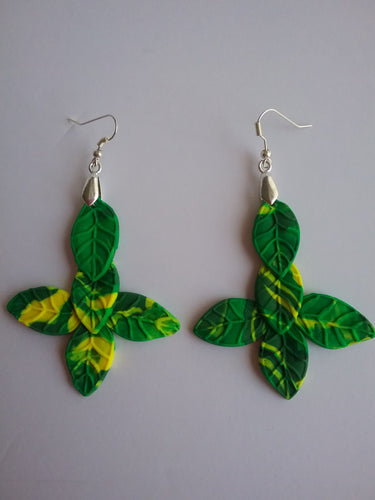 Green Leaves Earrings Jewelry Ideas Fancy Style Popular Item Accessory Trends Polymer Clay Handmade Art by Maria Iliescu - HANDMADE ART BY MARIA ILIESCU