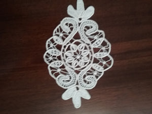 Oval  Macrame Cotton Crochet Handmade Art by Maria Iliescu