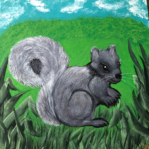 Squirrel Painting Handmade Art by Maria Iliescu Art and Style at Home Decor for Kids Room Wall Decor With Animal Acrylic Painting Canvas - HANDMADE ART BY MARIA ILIESCU