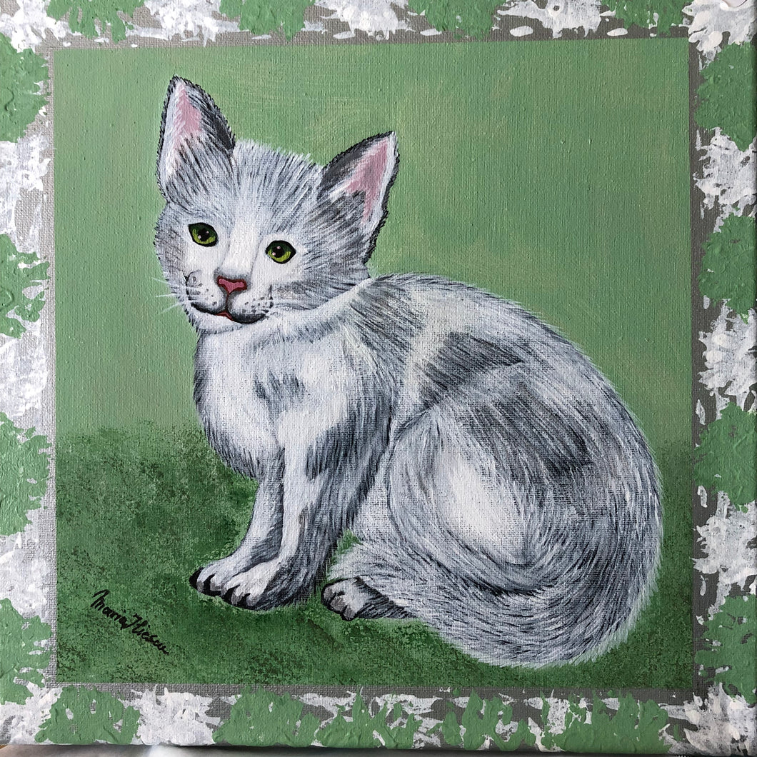 Tabby Cat Acrylic Painting Canvas Sweet Animal Popular Pet Cute Lovely Playful Handmade Art by Maria Iliescu