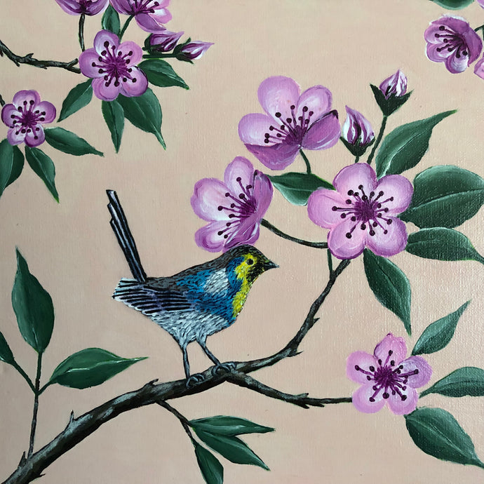 Bird on the Cherry Branch Acrylic Paint on Canvas Wonderful for Kids Room Colorful Catch Eyes handmade Art by Maria Iliescu - HANDMADE ART BY MARIA ILIESCU
