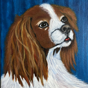 Fluffy Dog Acrylic Painting on Canvas Canine Family Wonderful Decor for your Kid's Room Handmade Art by Maria Iliescu