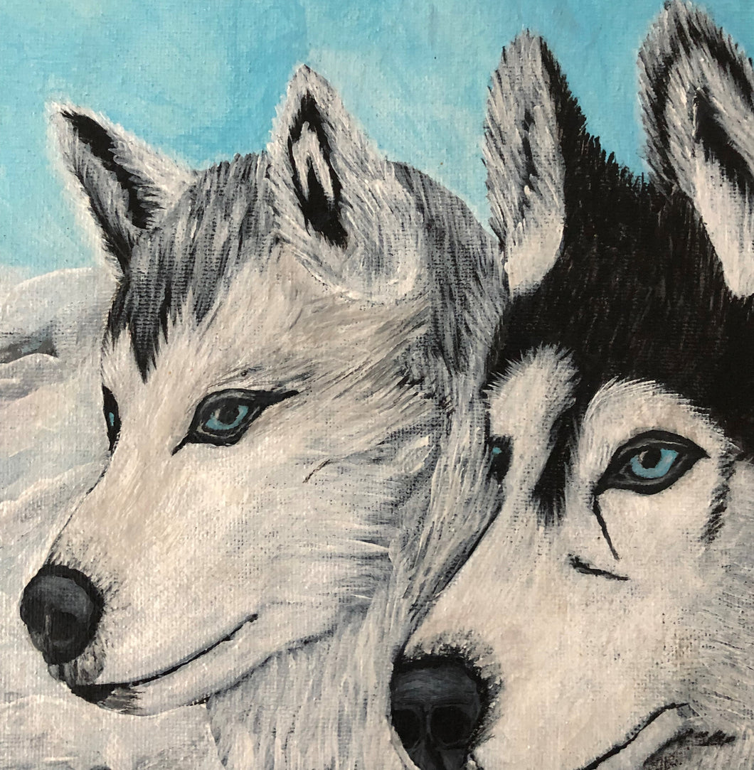Siberian Husky Dogs Lovely Animal Acrylic Painting Canvas Frame Style Handmade Art by Maria Iliescu - HANDMADE ART BY MARIA ILIESCU