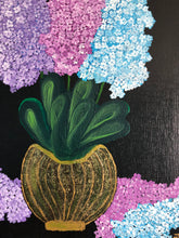 Load image into Gallery viewer, Lilac Flowers Vase Acrylic Painting Canadian Style Distinct Visual Identity Elegant Art Handmade Art by Maria Iliescu. - HANDMADE ART BY MARIA ILIESCU