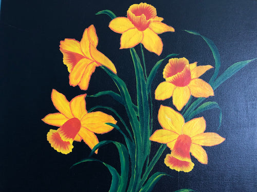 Narcissus Painting Floral Accents Contents 2019 Canadian Quality Hot Trends Best Ideas Spring Flowers Handmade Art by Maria Iliescu - HANDMADE ART BY MARIA ILIESCU