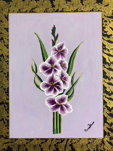 Gladiola Flowers Art and Style at Home Floral Concept Painting Frame Gold and Purple Style Handmade  Art by Maria Iliescu - HANDMADE ART BY MARIA ILIESCU