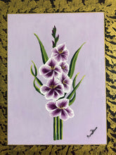 Load image into Gallery viewer, Gladiola Flowers Art and Style at Home Floral Concept Painting Frame Gold and Purple Style Handmade  Art by Maria Iliescu - HANDMADE ART BY MARIA ILIESCU
