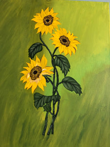 Sunflower Handmade Painting Art by Maria Iliescu Yellow Flowers Home Wall Decor Acrylic Painting Valueded Flowers Eye Catch art - HANDMADE ART BY MARIA ILIESCU