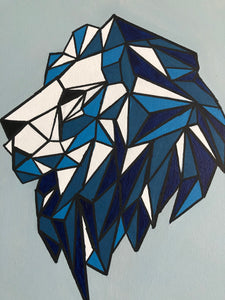 Geometric Lion Acrylic Painting Wild Animal Figure Wonderful Style Handmade Art by Maria Iliescu - HANDMADE ART BY MARIA ILIESCU
