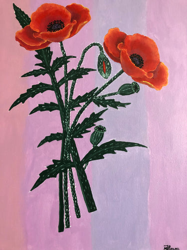 Poppy Flower Acrylic Painting Wall Art Cheerful Florals Art Decor Home Accessories Handmade Art by Maria Iliescu Remembrance Day - HANDMADE ART BY MARIA ILIESCU