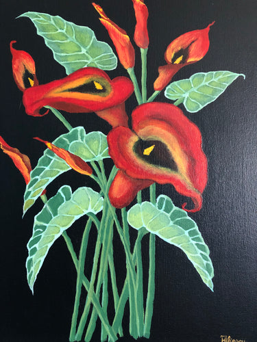 Red Calla Lily Flower Handmade Art by Maria Iliescu Canadian Acrylic Painting on Canvas Art Home Fashions Ideal Decor - HANDMADE ART BY MARIA ILIESCU