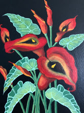 Load image into Gallery viewer, Red Calla Lily Flower Handmade Art by Maria Iliescu Canadian Acrylic Painting on Canvas Art Home Fashions Ideal Decor - HANDMADE ART BY MARIA ILIESCU