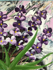 Purple Flowers Painting New for Spring Floral Accents Wall Design Fresh New Look Contemporary Artwork Handmade Art by Maria Iliescu
