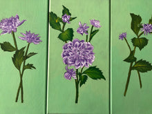 Load image into Gallery viewer, Dahlia Flowers Acrylic Painting Purple Lilla Floral Art Gorgeous Idea Handmade Art by Maria Iliescu - HANDMADE ART BY MARIA ILIESCU