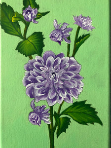 Dahlia Flowers Acrylic Painting Purple Lilla Floral Art Gorgeous Idea Handmade Art by Maria Iliescu - HANDMADE ART BY MARIA ILIESCU