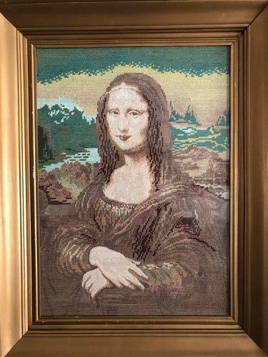 Mona Lisa Goblin Unique Wall Decoration Exuberant Style Gold Frame Style at Home Handmade Art By Maria Iliescu