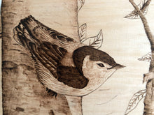 Load image into Gallery viewer, Bird on the Brunch Wood Burning Art Bird Carving Patterns Pictures Pyrography Creativity Art Decorative Wooden Handmade Art by Maria Iliescu