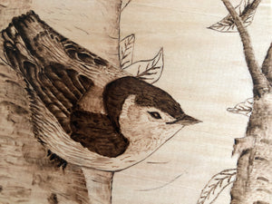 Bird on the Brunch Wood Burning Art Bird Carving Patterns Pictures Pyrography Creativity Art Decorative Wooden Handmade Art by Maria Iliescu