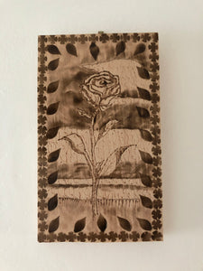 Rose Wood Burning Art Rustic Decor Handcrafted Wood Flower Art Handmade Art by Maria Iliescu