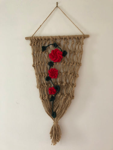 Rope Design with Red Flowers Amazing Stylish Rustic Artwork Handcrafted Handmade Art by Maria Iliescu
