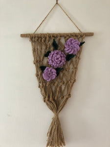 Rope Design and Lila Flowers Rustic Artwork Crochet Knots Craft and Style Cottage Items Handmade Art by Maria Iliescu