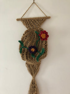 Flowers on the Vase Rustic Artwork Weave with Needle Crochet knots Hang on Amazing Style Handmade Art by Maria Iliescu