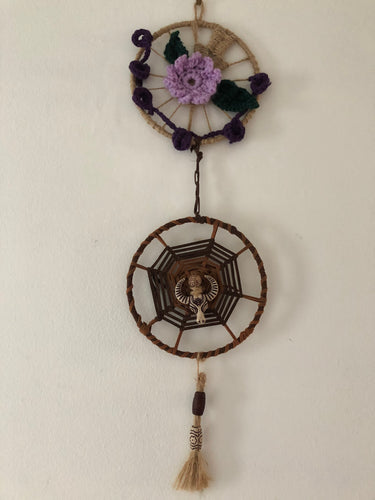 Circle Design with Rope Leather Wool Accessories Rustic Artwork Rural Projects Wall Decor Handmade Art by Maria Iliescu