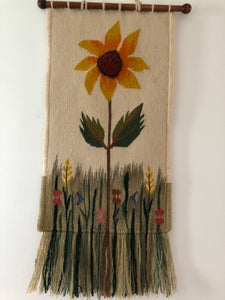 Wool Sunflower Wall Decor Rustic Artwork Linen Work Wool Fashion Style Handmade Art by Maria Iliescu