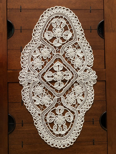 Cotton 100% Macrame Big Project Crochet Oval Decor Table Handwork  Handmade Art by Maria Iliescu